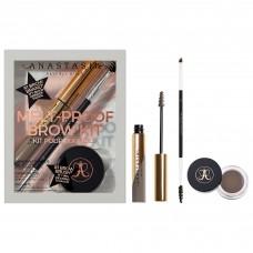 Лимитированный набор Anastasia Beverly Hills Melt-Proof Brow Kit Medium Brown (полноразмерные продукты: помадка для бровей 4гр + гель для бровей 4,4гр + кисть для бровей Brush 12)