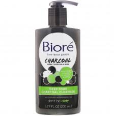Гель для умывания с углем для очищения пор Biore Deep Pore Charcoal Cleanser 200мл