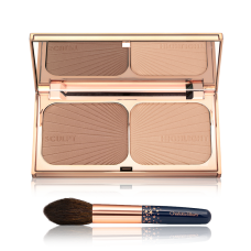 Лимитированный набор Charlotte Tilbury Limited Edition Filmstar Bronze & Glow Set Highlighter & Brush Kit (палетка для лица + кисть)