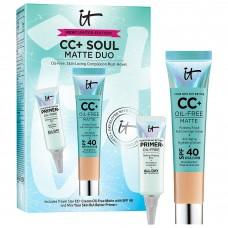Лимитированный набор IT Cosmetics CC+ Soul Matte Duo Medium (тональный крем 12мл + база под макияж 5мл)
